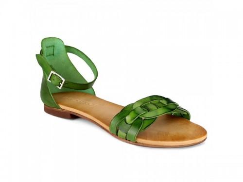 Sandali in vera pelle intrecciata verde
