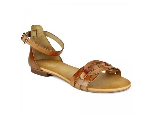 Sandali in vera pelle intrecciata cuoio