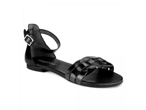Sandali in vera pelle intrecciata nero