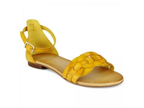 Sandali in vera pelle intrecciata ocra