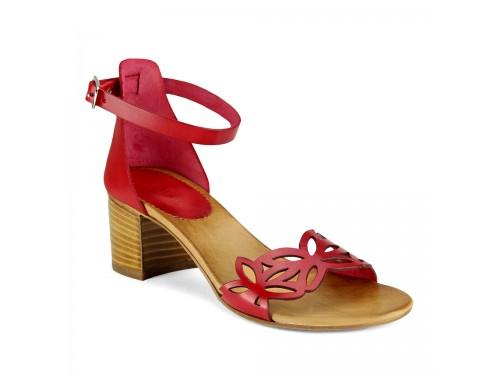 Sandali in vera pelle laserata rosso