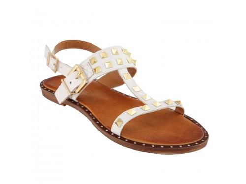 Sandali in pelle con cinturino alla caviglia