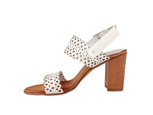 Sandali in pelle di vitello laserata con tacco 8 cm