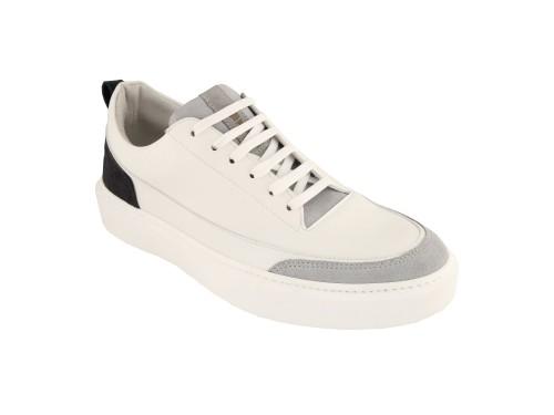 Sneakers in pelle di vitello e camoscio
