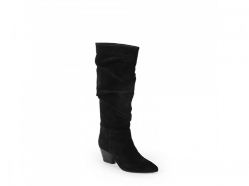 Stivali a punta in camoscio plissettato nero