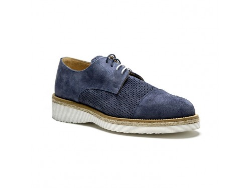 Derby Stringate In Camoscio Jeans